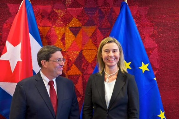 """""""Fue un placer a recibir el ministro Bruno Rodriguez"""", dijo la Jefa de la Diplomacia europea. Foto: Twitter"""