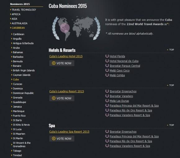 Listado de Hoteles y Resorts cubanos nominados en el 2015