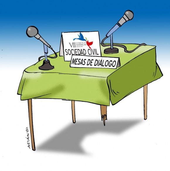La pata coja del Foro de la Sociedad Civil. Caricatura: Adán