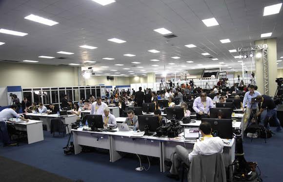 La Sala de Prensa del Centro de Convenciones Atlapa. Foto: Ismael Francisco/ Cubadebate