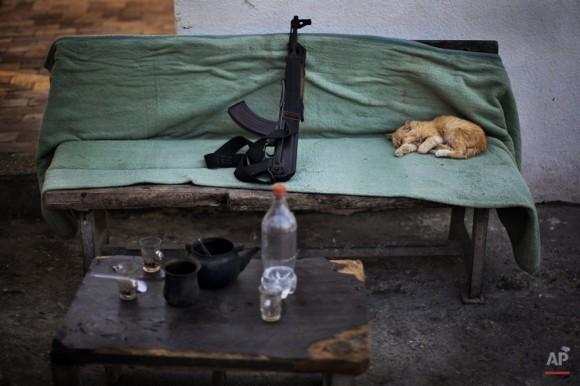 Un gato duerme junto a un arma Kalashnikov en un puesto de control de seguridad de Hamas en Ciudad de Gaza, 30 de octubre de 2012. (Foto AP / Bernat Armangue)