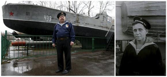 Boris Davydov, de 87 años, sirvió como militar de la Marina soviética en un barco de detección de minas en la flota del Mar Negro. En la imagen de la izquierda posa delante de un buque soviético de la guardia militar BK-433, producido en 1942 que se conserva en el Museo Central de las Fuerzas Armadas de Moscú, Rusia. Foto: Reuters