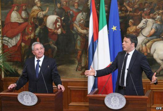 Conferencia de Prensa de Raúl y Renzi. Foto EFE