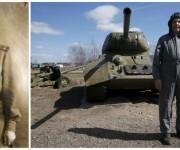 El coronel retirado Foma Kriuchkov de 92 años posa delante de un tanque de fabricación soviética T-34 en Moscú. Este veterano de la Segunda Guerra Mundial sirvió primero como mecánico de tanques, posteriormente como conductor y luego como comandante de un escuadrón de blindados en el frente de Leningrado. Foto: Reuters