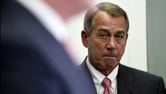 El presidente de la Cámara de Representantes, John Boehner, durante una conferencia sobre la votación en torno al programa de vigilancia de la NSA. Foto Ap