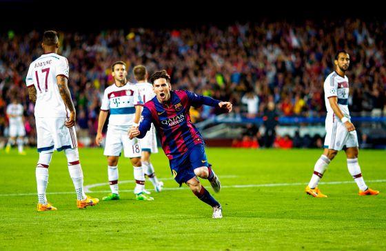 Messi celebra el primer gol de la semifinal de la Champions. Foto: Getty Images