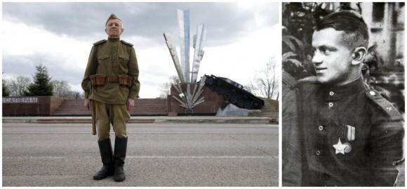 Nilolai Melnikov, de 92 años, fue zapador e ingeniero militar del Ejército Rojo en los frentes del sur y Ucrania y combatió parte en la Batalla de Stalingrado, que cambió el curso de la guerra, y posteriormente en la liberación de Polonia y Alemania. En la imagen de la izquierda posa delante del monumento a los zapadores cerca de Volokolamsk, en la región de Moscú.