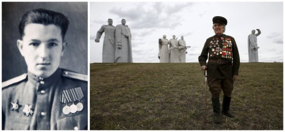 Valentín Barmin, de 88 años, fue soldado de infantería del Ejército Rojo y sirvió como comandante de tropa médica en el segundo y tercer frente bielorruso. En la imagen de la derecha, posa en el llamado 28 Panfilov Heroes Memorial Park en Moscú, Rusia.