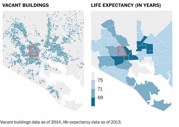 Datos de las casas vacías (2014) y la esperanza de vida (2013), en Baltimore, Estados Unidos.