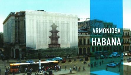 """Imagen escaneada de la parte delantera del plegable informativo sobre la instalación """"Armoniosa Habana"""" del artista plástico coreano Han Sungpil."""