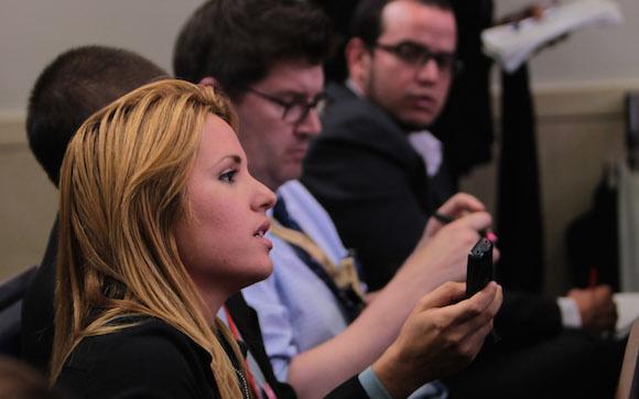 Cristina Escobar durante la conferencia de prensa en la Casa Blanca. Foto: Ismael Francisco/ Cubadebate