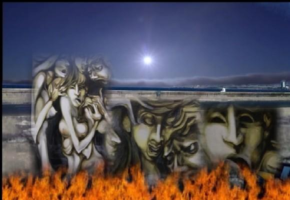 El uso del fuego en Malecón. Uno de los recursos expresivos más utilizados por Jobana M. Bencomo en su videoarte.