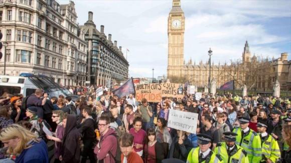Manifestación antirrecortes en Londres, tras la victoria electoral conservadora. 9 de mayo de 2015. Foto: The Guardian
