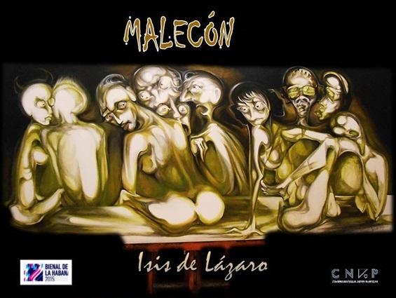 Malecón (técnica mixta), pieza que identifica al Open Studio de Isis de Lázaro.