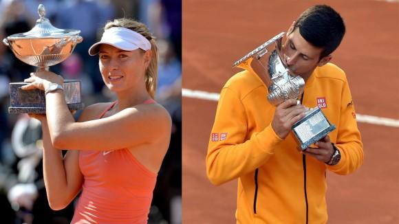 Novak Djokovic y María Sharapova se coronan en Roma
