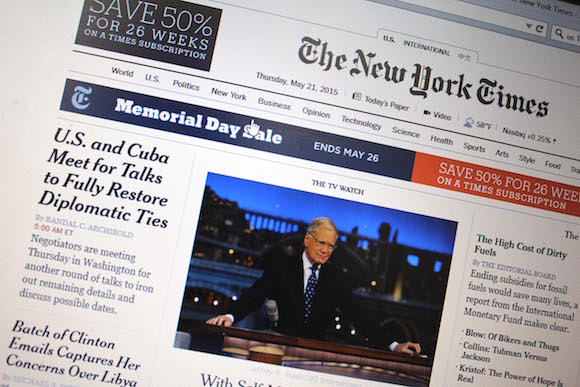 La portada de hoy de The New York Times. Foto: Jorge Legañona/ AIN