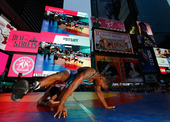during their match at Times Square on May 21, 2015 in New York City.