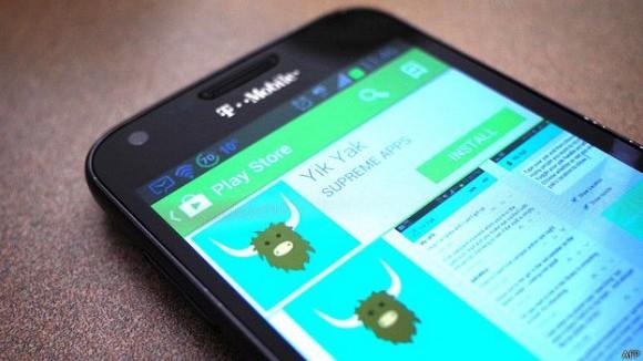 La aplicación Yik Yak ha sido prohibida en varios campus de EE.UU. y Reino Unido. Foto tomada de BBC MUndo