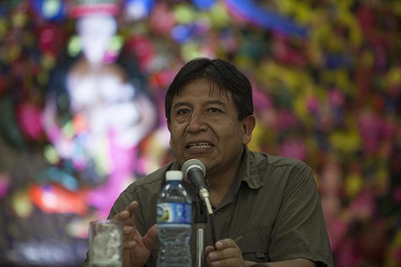 Excmo. Señor David Choquehuanca Céspedes, Ministro de Relaciones Exteriores del Estado Plurinacional de Bolivia durante conferencia en Casa de las Américas.