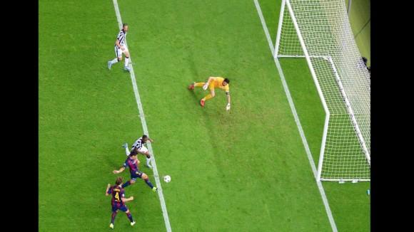 Luis Suárez anotó el segundo gol del barcelona  en la Final de la Champions, 6 de junio de 2015. Foto: AFP