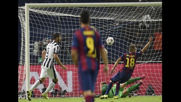 Morata empató el partido a uno para la Juventus  en la Final de la Champions, 6 de junio de 2015. Foto: AFP