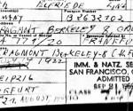 La documentación de Elfriede Huth, después Elfriede Rinkel, cuando fue admitido en EE.UU. Admitió haber sido guardia en un campo de concentración nazi, pero eso no le impidió acumular casi 120.000 dólares de la Seguridad Social de EE.UU. Foto: AP