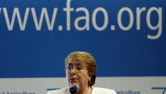 Michelle Bachelet en su discurso con motivo de la inauguración de la cumbre de la FAO. Foto tomada de El Universal