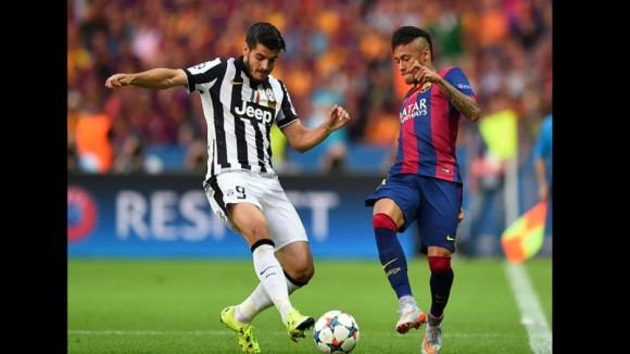 Neymar y Morata  en la Final de la Champions, 6 de junio de 2015. Foto: AFP
