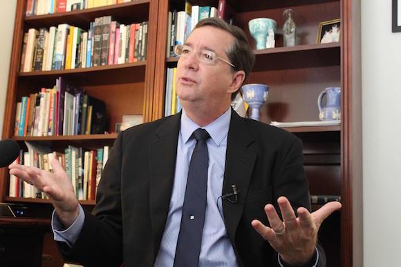 Jim Wilker, presidente del Consejo de Iglesias de Estados Unidos, en entrevista ofrecida a la prensa cubana, en la sede de esa organización en Washington. 27 de mayo de 2015. Foto: Jorge LEGAÑOA ALONSO/AIN