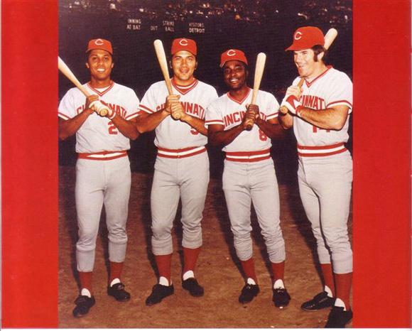 De izquierda a derecha, Tany Pérez, Johnny Bench, Joe Morgan y Pete Rose.