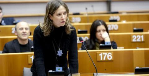 La europarlamentaria Marina Albiol durante una sesión plenaria, en febrero. Foto: Archivo del PE.