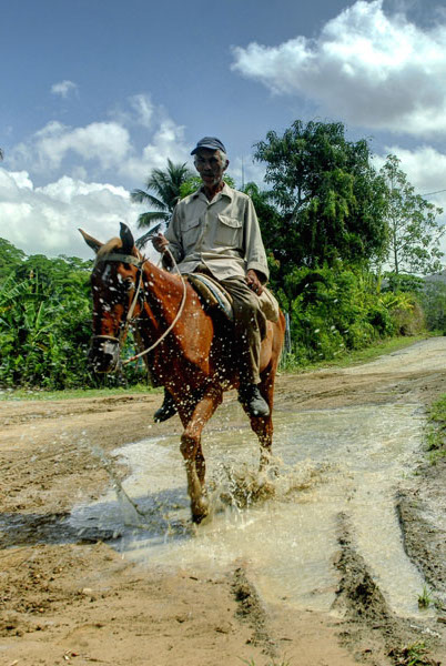 Campesino a caballo en Calabazas de Sagua, comunidad montañosa del Plan Turquino enclavada en el municipio de Sagua de Tánamo, provincia de Holguín. Cuba, el 12 de junio de 2015. AIN FOTO/Juan Pablo CARRERAS