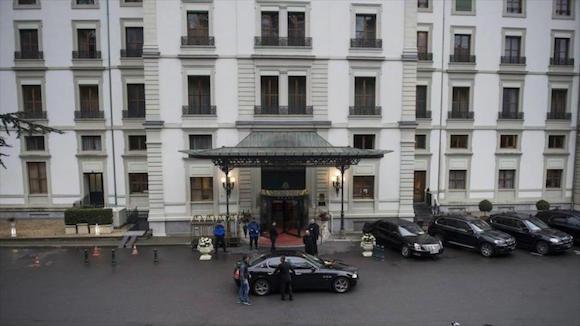 El hotel Beau-Rivage Palace Hotel, uno de los elegidos para desarrollar los diálogos nucleares de Irán y el G5+1 en marzo de 2014. Lausana, Suiza.