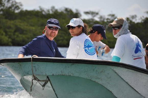 Integrantes de la expedición. a la izquierda , Dr. Robert Hueter and Dr. Kim Ritchie, y el cinetífico cubano Alexei Ruiz Abierno de la UH y Dr. Fabián Pina Amargós Foto:Discovery Channel