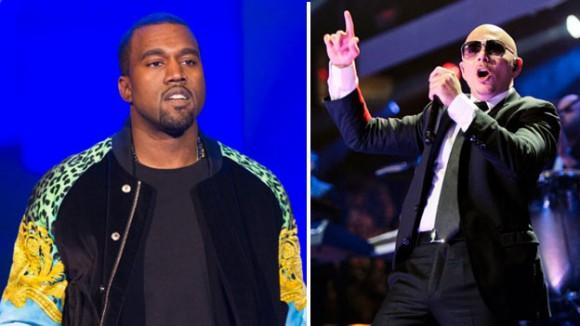 Los raperos Kanye West y Pitbull.