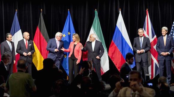 Irán y el Sexteto durante la última rueda de prensa sobre los diálogos nucleares en capital austriaca, Viena. 14 de julio de 2015.