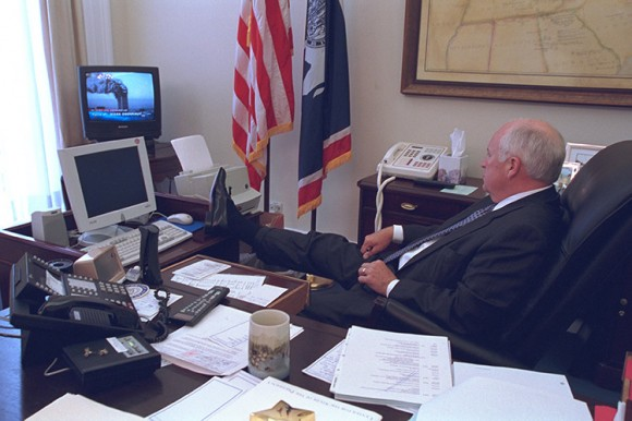 U.S. Vice President Dick Cheney watches television reports in Washington in the hours following the September 11, 2001 attacks in this U.S National Archives handout photo