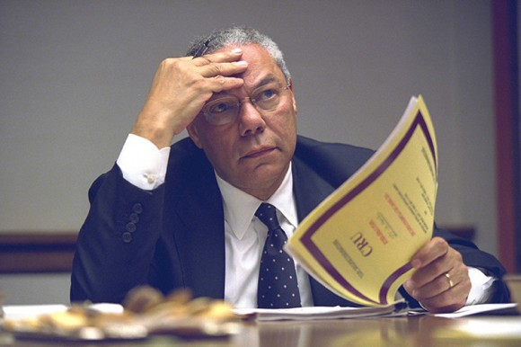U.S. Secretary of State Colin Powell is pictured in the President's Emergency Operations Center in Washington in the hours following the September 11, 2001 attacks in this U.S National Archives handout photo