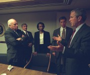 U.S. President George Bush is pictured with U.S. Vice President Dick Cheney and senior staff in the President's Emergency Operations Center in Washington in the hours following the September 11, 2001 attacks in this U.S National Archives handout photo