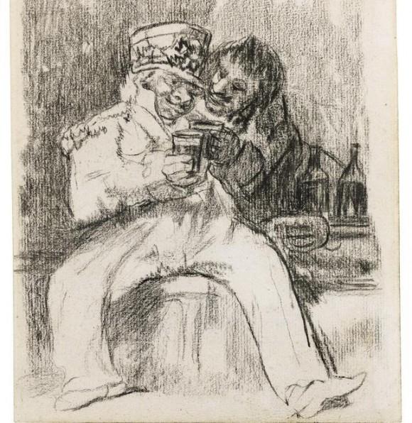 """El dibujo de Goya, """"Un soldado francés con un compañero de copas"""". Foto tomada de abc.es"""
