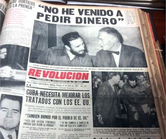 Portada del diario Revolución del 17 de abril de 1959, que reseña el encuentro con el Secretario de Estado.
