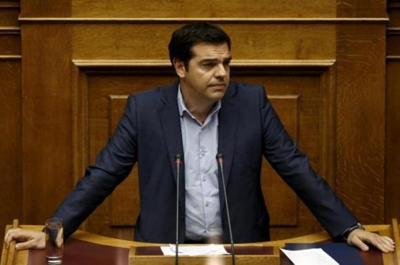 Tsipras en el Parlamento griego.