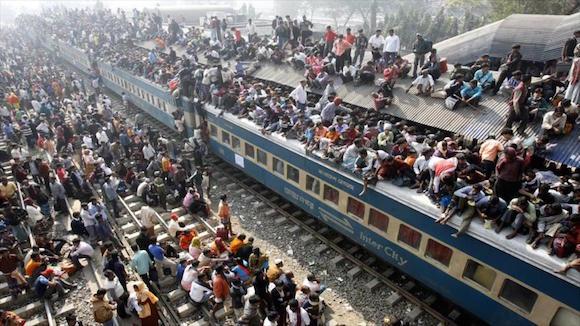 Un tren abarrotado en la India. Foto: HispanTV.
