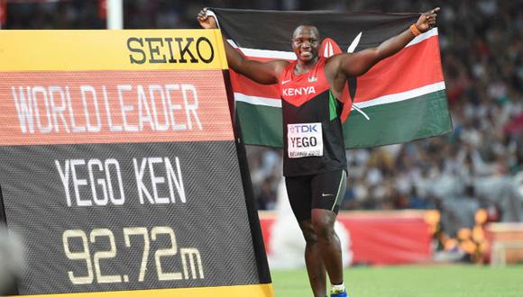 El lanzamiento de Julius 92,72m La distancia que recorrió la jabalina lanzada por Yego para ganar la medalla de oro. 1ª medalla que gana Kenia en una prueba de campo en los Mundiales de Atletismo. Foto: Xinhua.