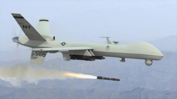 Ataque con misil efectuado por un dron.