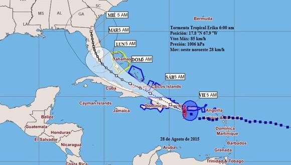 Tormenta Tropical Erika se acerca al oriente de Cuba