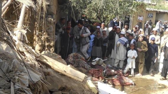 Casa en Paquistán destruida por un ataque de un dron estadounidense.