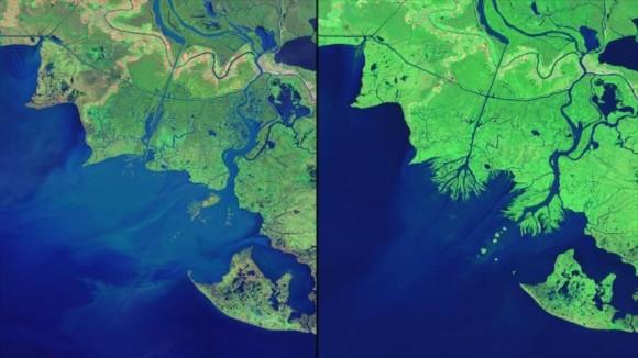 Una comparación realizada sobre el nivel del mar en las costas de Misisipi desde 1992.