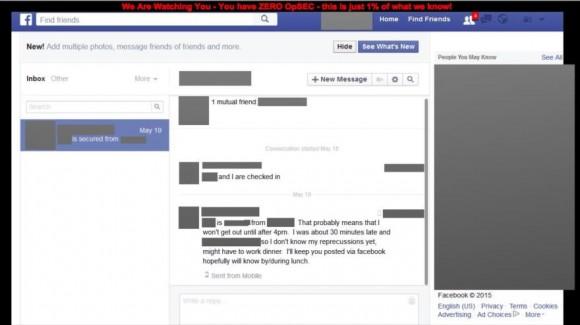 Una de las páginas de Facebook hackeadas por piratas informáticas del EIIL. 11 de agosto de 2015