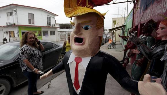 Una piñata de Donald J. Trump en Reynosa, México. Foto: Daniel Becerril/ Reuters